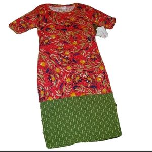 LulaRoe Julia Form Fitting Dress Floral Dipped
